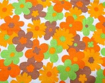 "orange cotton retro vintage bedsheet and 2 flower power pillow cases in original seventies packing ""Eurodroom"""
