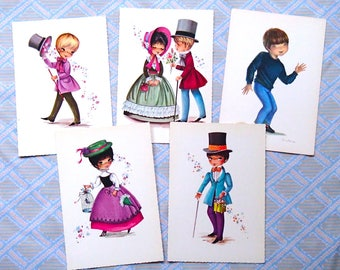 set of 5 vintage postcards / 70s / unwritten / greeting card / retro postcard