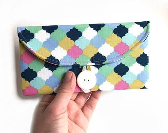 cute cash envelope wallet coupon case. women checkbook cover. pastel fabric cotton material. teen gift idea