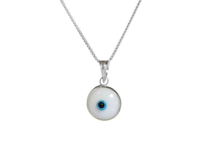 Sterling Silver White Evil Eye Necklace with Evil Eye Protection Charm on 925 Sterling Silver 19 Inch Box Chain
