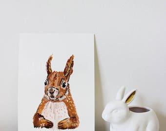 Squirrel Portrait, Squirrel Painting, Squirrel Art, Animal Art, Woodland Art, Woodland Animal, Woodland Animal Art, Nursery Art