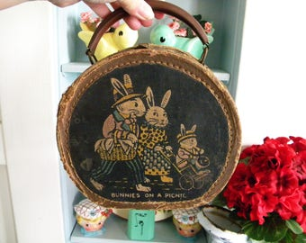 Vintage Child's Suitcase Round Doll Case with Bunny Rabbit Family on Picnic Antique Train Case Toy