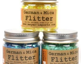 Iridescent Ice Flakes - Blue, Green, Yellow art glitter craft glitter decoration glitter artist glitter german glitter - Set 6 - 311-M-0717