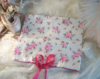 large vintage satin lingerie, hosiery or jewelry storage travel bag roll pouch, pretty pink roses, satin ribbon ties