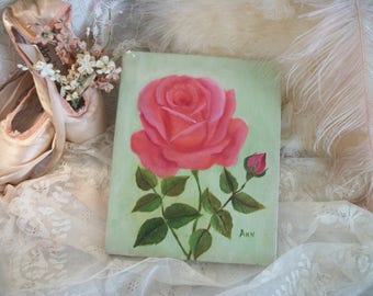 "vintage pink roses painting, original painting on canvas, shabby cottage chic roses, unframed, 8"" by 10"" pink & pale green, signed by artist"