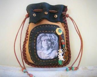 deerskin medicine bag >> SNAKE PRIEST << Leather Medicine Man Bag, snake vertabrae, stash bag, shaman shamanic wicca, Native American style
