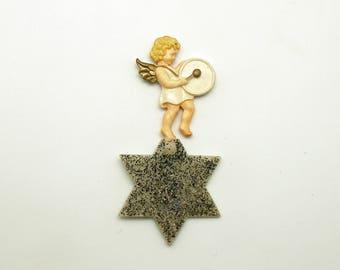 Vintage Angel on Star Ornament Germany Drum