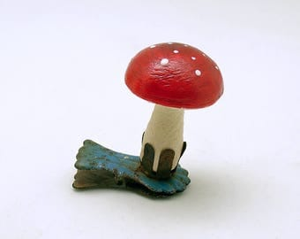 Vintage Christmas Ornament Clip On Mushroom Spun Cotton Mushroom Christmas Decoration