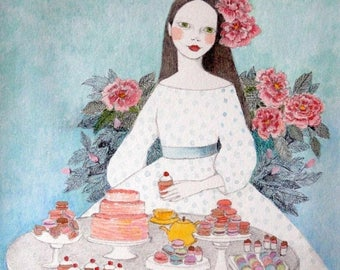 Sale Macaron girl -  PRINT deluxe original art watercolor painting illustration of girl with flowers and macarons