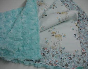 Fawn in Aspen with Winter Canopy Rose Cuddle Minky Comforter Baby Blanket 23 x 28 READY TO SHIP