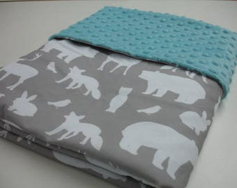 Woodland Animal Party in Gray with Aqua Minky Baby Security Blanket 20 x 25 READY TO SHIP On Sale