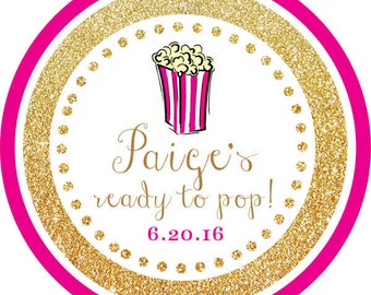 DIY Printable File- Ready to Pop! Gold Glitter Pink Popcorn round sticker label -Avery Label 22807