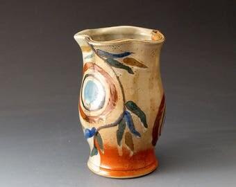 Handmade Ceramic Bud Vase with Circles and Sprigs, Home Decor, Vases, Fine Art Ceramics
