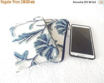 CLEARANCE - Blue crewel embroidery pouches, wool floral clutch, bridal gifts,  makeup bag, cosmetic pouch, purse organizer, only DENIM back