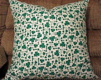 St Patricks Day Lucky Shamrocks Pillow Cover Decorative Throw 18x18