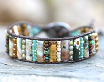 Ocean Jasper Gemstone Bracelet, Crystal Beaded, Leather Wrap Cuff Bracelet, Beach Boho Bracelet, Multi Beaded Leather Wrap, Earthy Bohemian