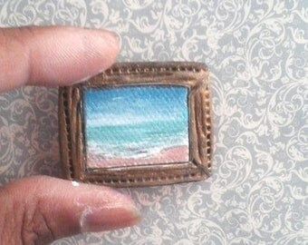 "1:24 Scale Oil Painting Beach Seascape 3/4"" x 1"" Framed READY to SHIP"