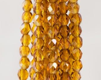 Firepolish Czech Faceted Twilight Topaz Glass Beads 4mm (50)