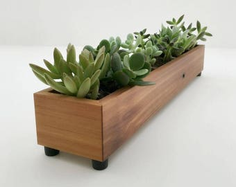 Modern Wood Planter Box, Reclaimed Wood Window Box Long Wood Succulent Planter For Window Ledge