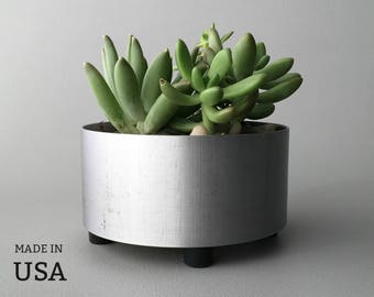 Metal Succulent Planter, Large, Round, Brushed Metal