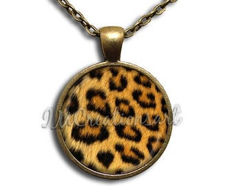 25% OFF - Animal Print Cheetah Pattern Glass Dome Pendant or with Chain Link Necklace PT114