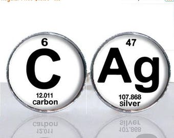 25% OFF - Periodic Table Science CAg Carbon Silver Round Glass Tile Cuff Links - CIR180