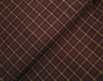 Cotton Homespun Material Wine, Black and Khaki Large Plaid | 22 x 44