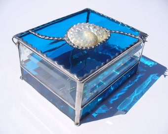 Pearlized Abalone Shell Inlay Jewelry Box, Stained Glass Jewelry Box, OOAK gift, Hand Made