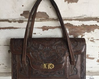 Vintage Hand Tooled Leather Purse - Dark Brown Espresso Kelly Bag