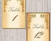 Medieval castle table numbers, wedding reception table cards, wedding ceremony table signs, set of 5