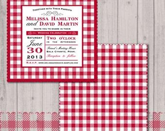 Backyard Picnic Wedding Invitation Red Gingham Napkin Set Of 25