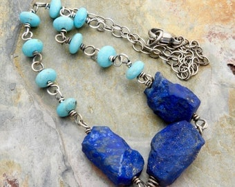 Turquoise and Rough Lapis Lazuli Gemstone Necklace - Turquoise Necklace - Sterling Silver - Dark Blue Lapis Lazuli Necklace - #4833