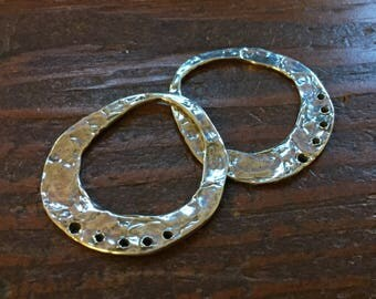 TWO Large Earring Components Sterling Silver Organic  002/