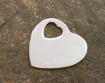 Stamping Blank Heart 21 mm Sterling Silver