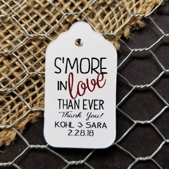 "Smore in Love Than Ever Thank You personalized favor tag Choose your quantity SMALL 2"" Favor Tag, smore love, S'more Love, adding smore love"