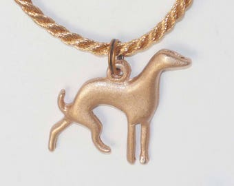 SueBero Copper Silhouette Greyhound Dog Charm Pendant on Copper Cord Necklace