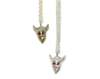 Devil Head Necklace in Brass or Silver, Charm Necklace, Handmade Necklace, Delicate Necklace, Swarovski Crystals