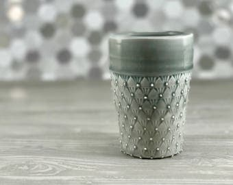 Grey tumbler. Handmade porcelain cup. Ceramic tumbler. Unique pottery cup, stamped texture. Gift for him. Gin and tonic cup.
