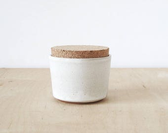 mini cork jar, cream.