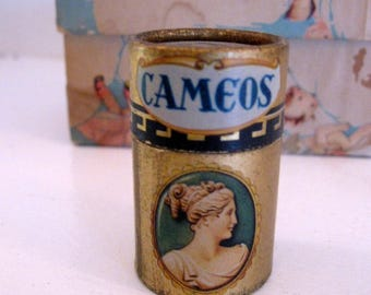 Round Matchbox Full of Matches Golden Cameo