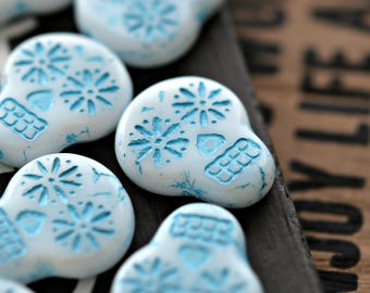 NEW! Haunted Faces - Premium Czech Glass Beads, Opaque White, Turquoise Wash, Sugar Skulls 20x17mm - Pc 2