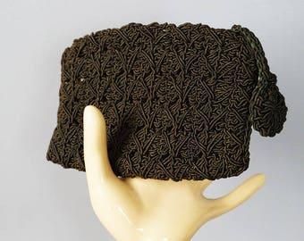 Vintage 1940s Change Purse Brown Silk Cord Crochet Clutch
