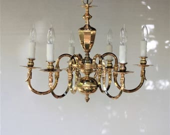 Vintage chandelier etsy vintage chandelier polished brass 6 armhollywood regencytraditionalcolonial aloadofball Choice Image
