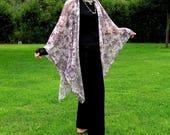 Butterfly Paisley Lavender Pink Shawl, Ruana, Cape, Shrug, Swimwear Coverup--Airy Chiffon Type Fabric--One Size Fits Most