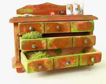 Ye Olde Dresser Left Out in the Miniature Garden, Who Did it? OOAK for Dollhouse Garden Customized Weathered One Inch Scale Not For Outdoors