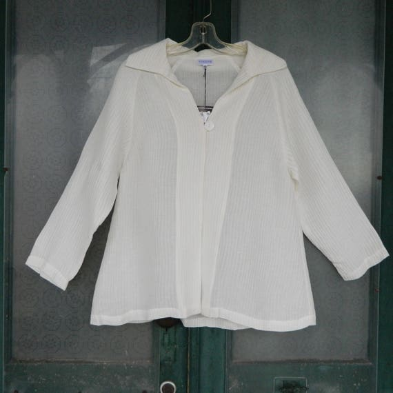 Staples One Button Jacket -S- Ivory Ribbed Linen/Silk NWT