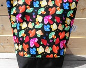 Insulated Lunch Bag - Technicolor Mushrooms on Black