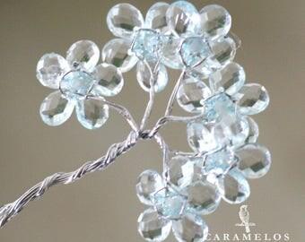 12 Aqua Clear Acrylic Flowers