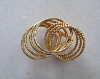 Gold interlocked braided or solid gold Brooch pin