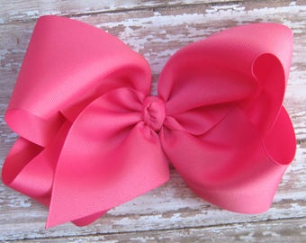 X-Large 7 inch Size Grosgrain Hair Bow in Hot Pink Big Boutique Style Hairbow